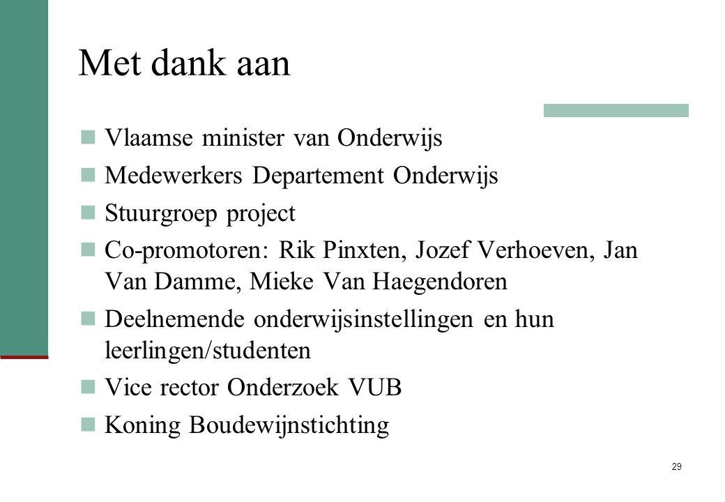 Met dank aan Vlaamse minister van Onderwijs