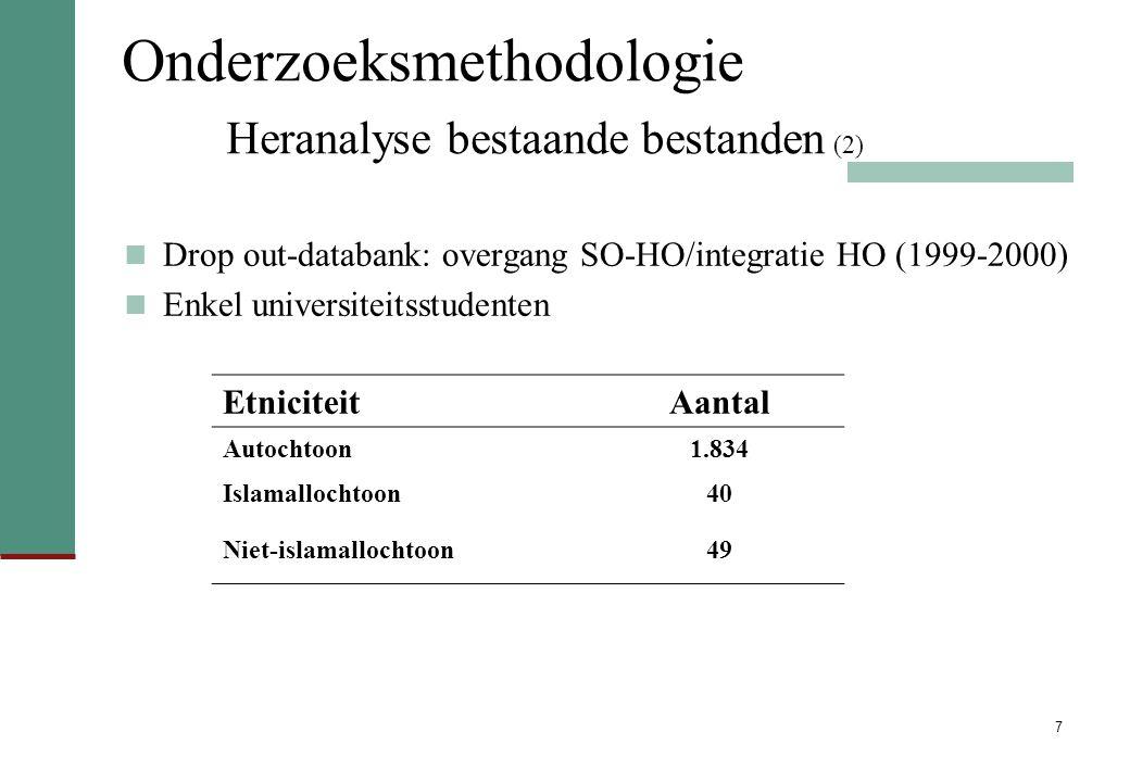 Onderzoeksmethodologie Heranalyse bestaande bestanden (2)
