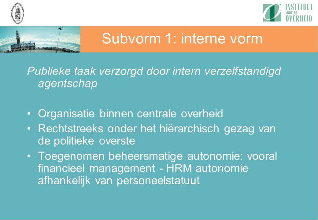 Subvorm 1: interne vorm Publieke taak verzorgd door intern verzelfstandigd agentschap. Organisatie binnen centrale overheid.