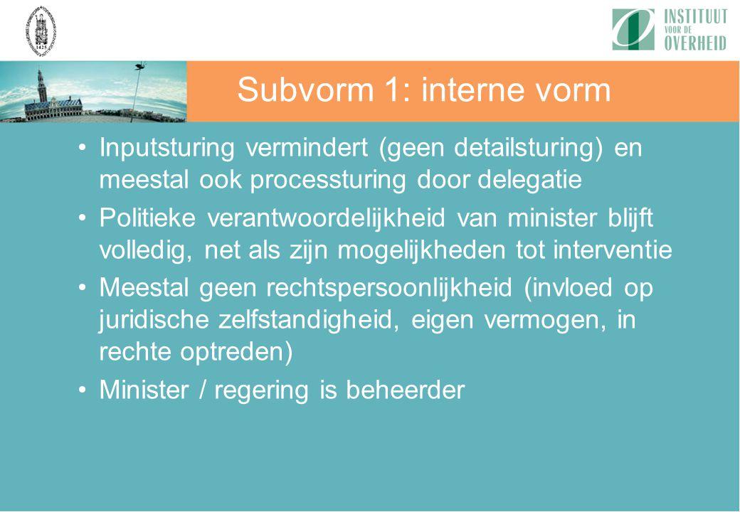 Subvorm 1: interne vorm Inputsturing vermindert (geen detailsturing) en meestal ook processturing door delegatie.