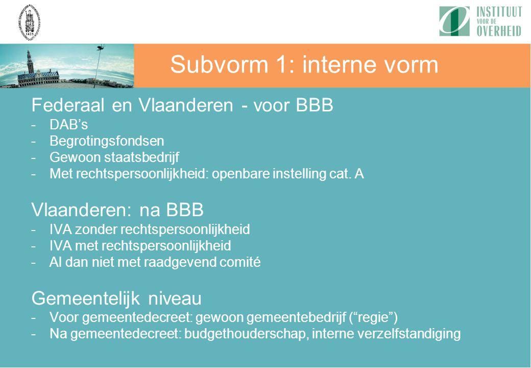 Subvorm 1: interne vorm Federaal en Vlaanderen - voor BBB