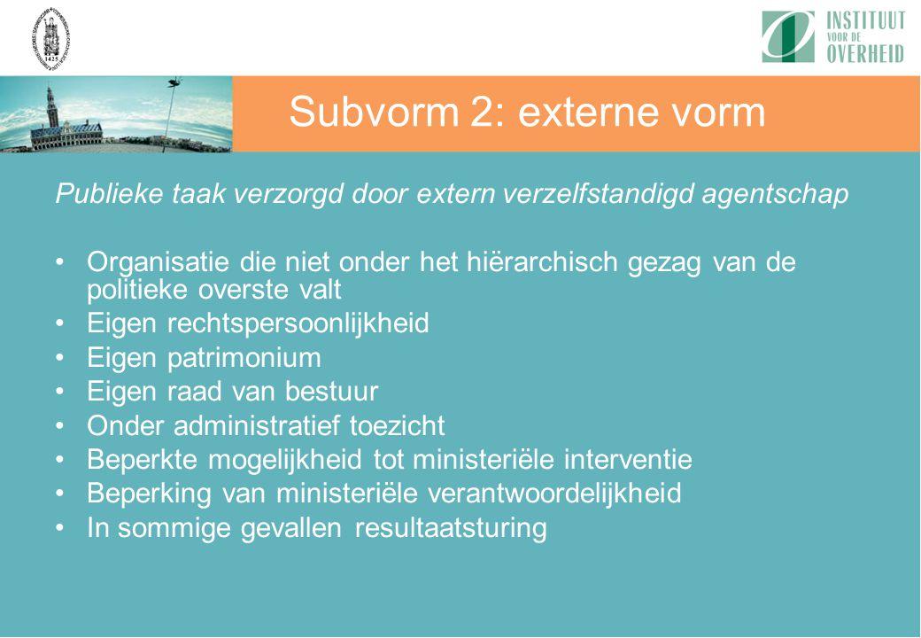 Subvorm 2: externe vorm Publieke taak verzorgd door extern verzelfstandigd agentschap.