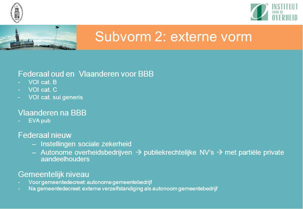 Subvorm 2: externe vorm Federaal oud en Vlaanderen voor BBB