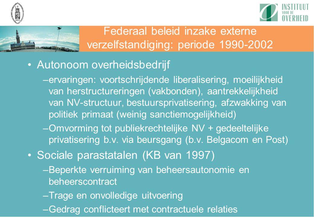Federaal beleid inzake externe verzelfstandiging: periode 1990-2002