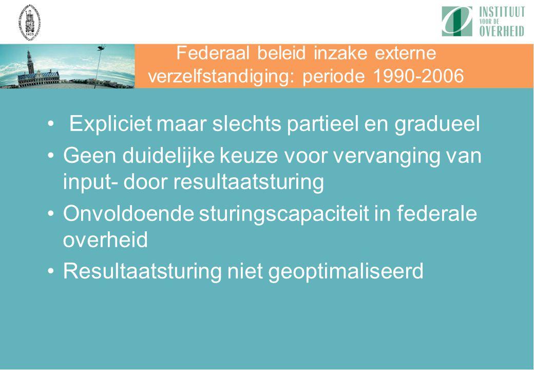 Federaal beleid inzake externe verzelfstandiging: periode 1990-2006