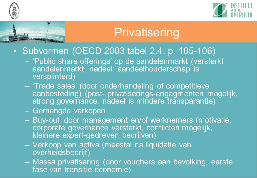 Privatisering Subvormen (OECD 2003 tabel 2.4, p. 105-106)