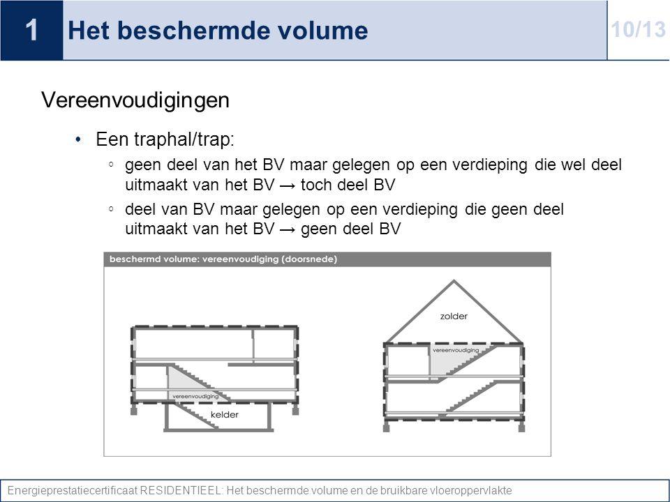 1 Het beschermde volume 10/13 Vereenvoudigingen Een traphal/trap: