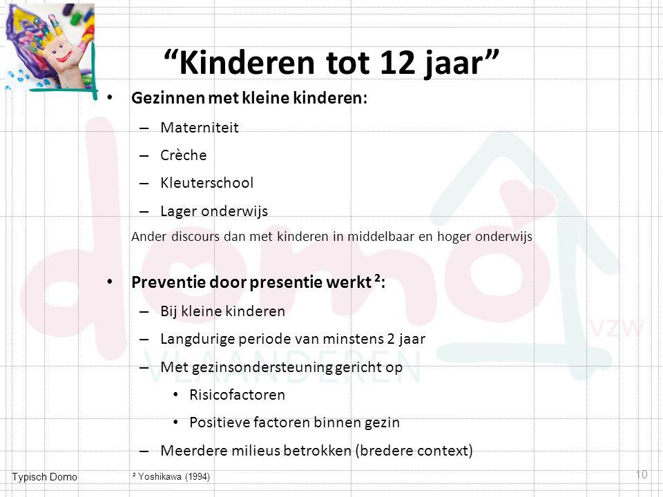 Kinderen tot 12 jaar Gezinnen met kleine kinderen:
