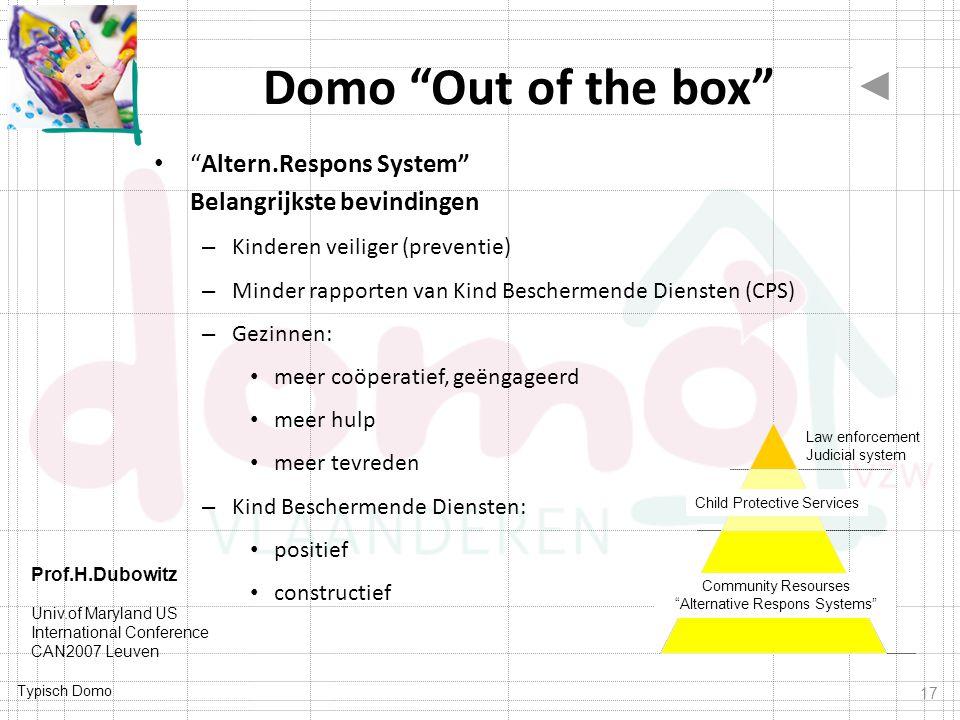 Domo Out of the box Altern.Respons System Belangrijkste bevindingen. Kinderen veiliger (preventie)