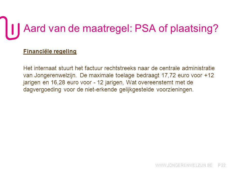 Aard van de maatregel: PSA of plaatsing