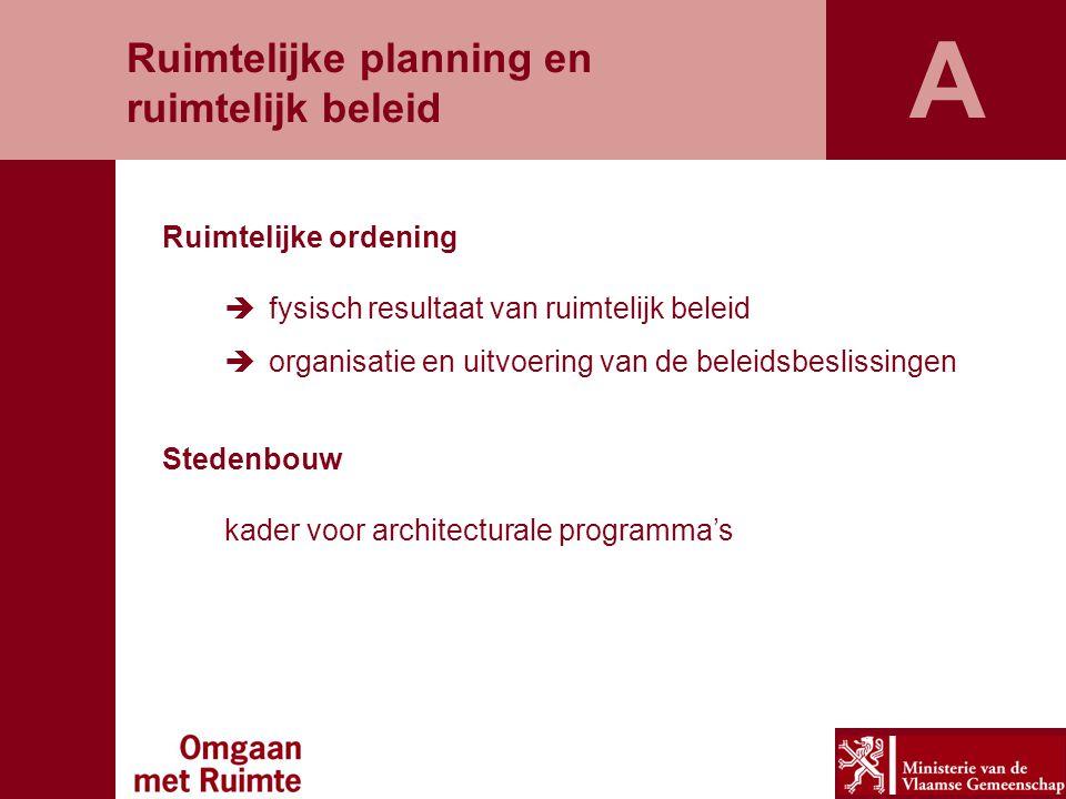 A Ruimtelijke planning en ruimtelijk beleid Ruimtelijke ordening