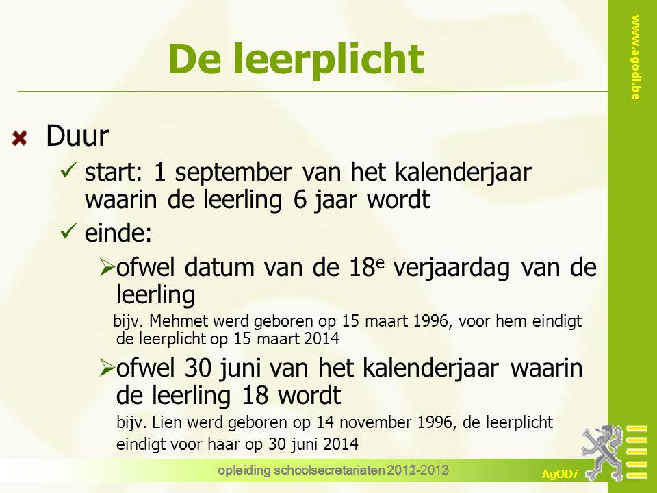 De leerplicht Duur. start: 1 september van het kalenderjaar waarin de leerling 6 jaar wordt. einde: