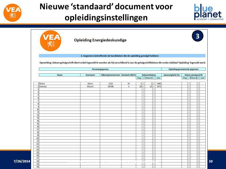 Nieuwe 'standaard' document voor opleidingsinstellingen