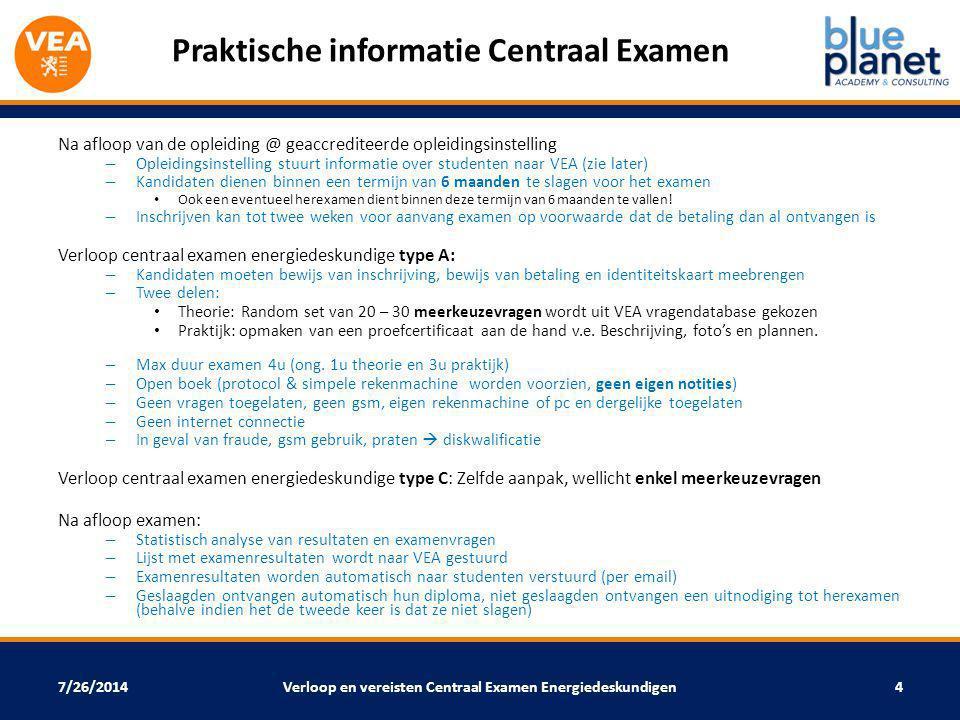 Praktische informatie Centraal Examen