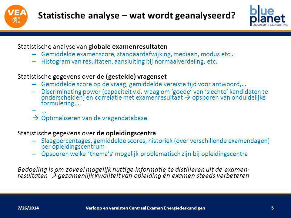 Statistische analyse – wat wordt geanalyseerd