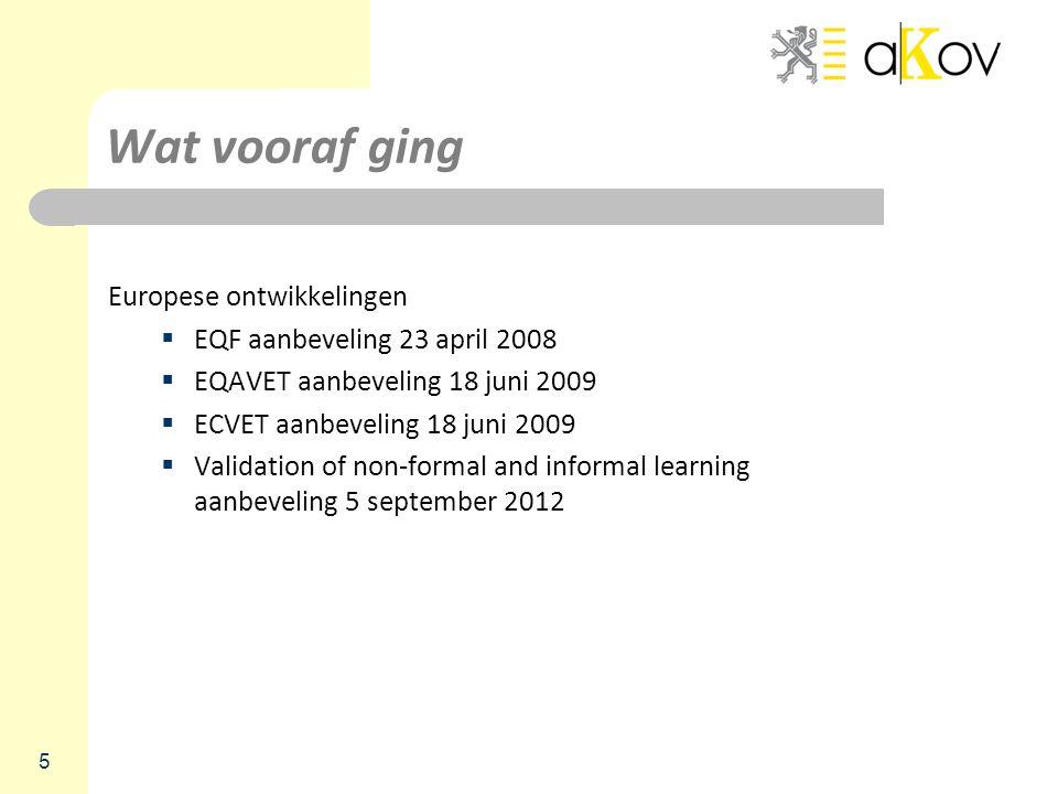 Wat vooraf ging Europese ontwikkelingen EQF aanbeveling 23 april 2008