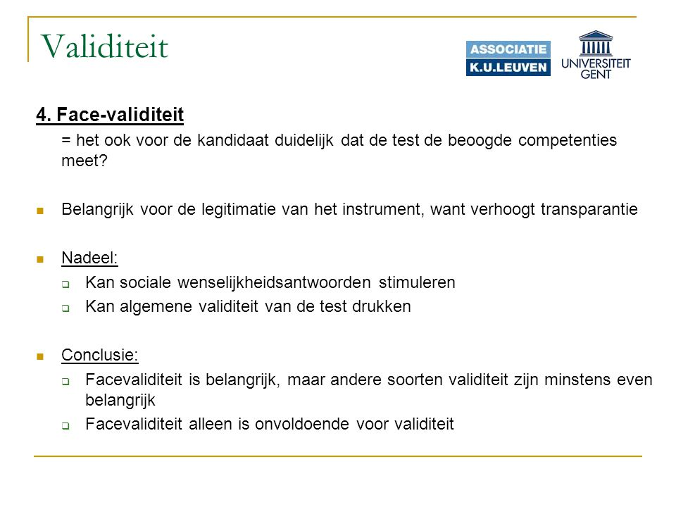 Validiteit 4. Face-validiteit