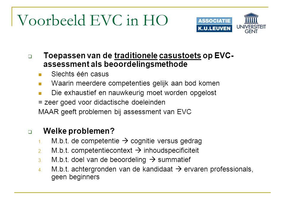 Voorbeeld EVC in HO Toepassen van de traditionele casustoets op EVC-assessment als beoordelingsmethode.
