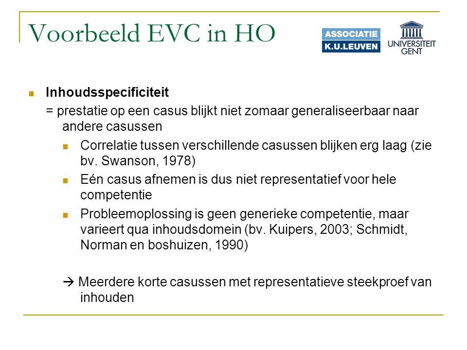 Voorbeeld EVC in HO Inhoudsspecificiteit