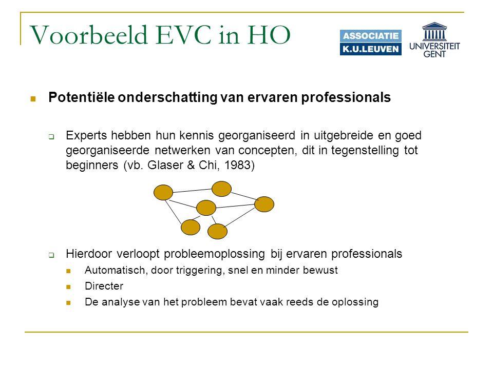 Voorbeeld EVC in HO Potentiële onderschatting van ervaren professionals.