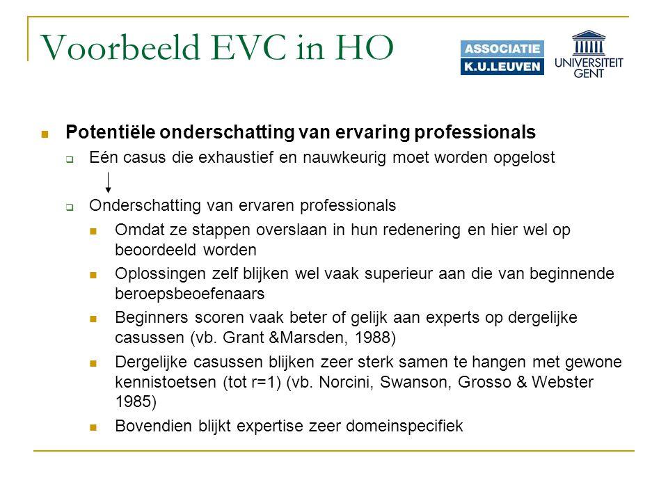 Voorbeeld EVC in HO Potentiële onderschatting van ervaring professionals. Eén casus die exhaustief en nauwkeurig moet worden opgelost.
