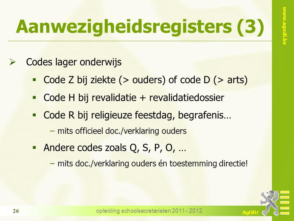 Aanwezigheidsregisters (3)