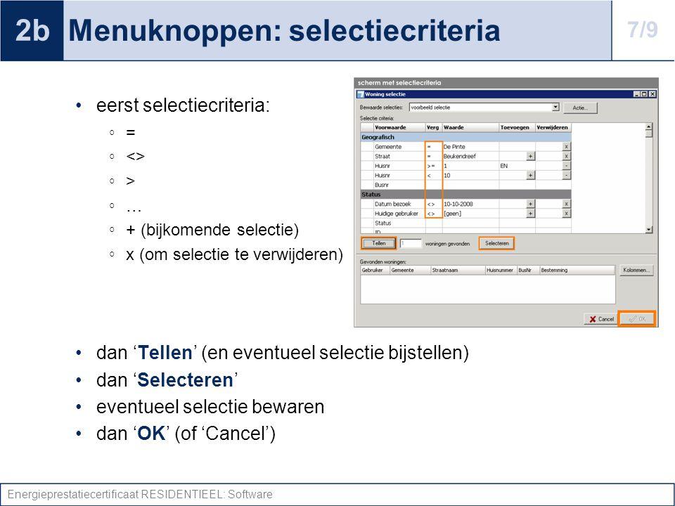 Menuknoppen: selectiecriteria