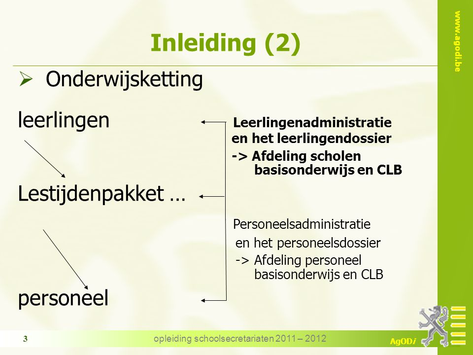 opleiding schoolsecretariaten 2011 – 2012