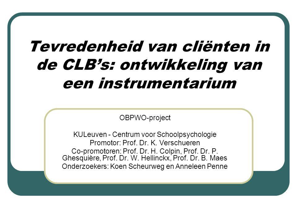 Tevredenheid van cliënten in de CLB's: ontwikkeling van een instrumentarium