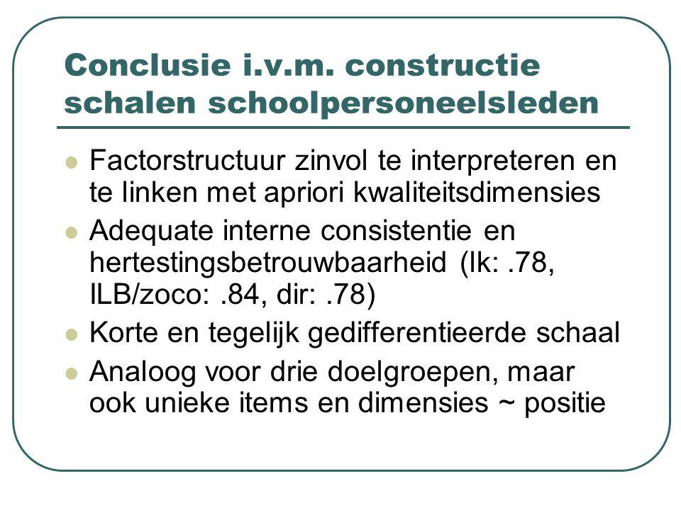 Conclusie i.v.m. constructie schalen schoolpersoneelsleden