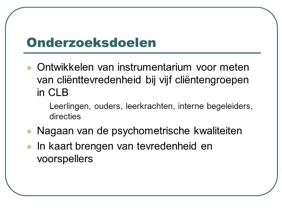 Onderzoeksdoelen Ontwikkelen van instrumentarium voor meten van cliënttevredenheid bij vijf cliëntengroepen in CLB.