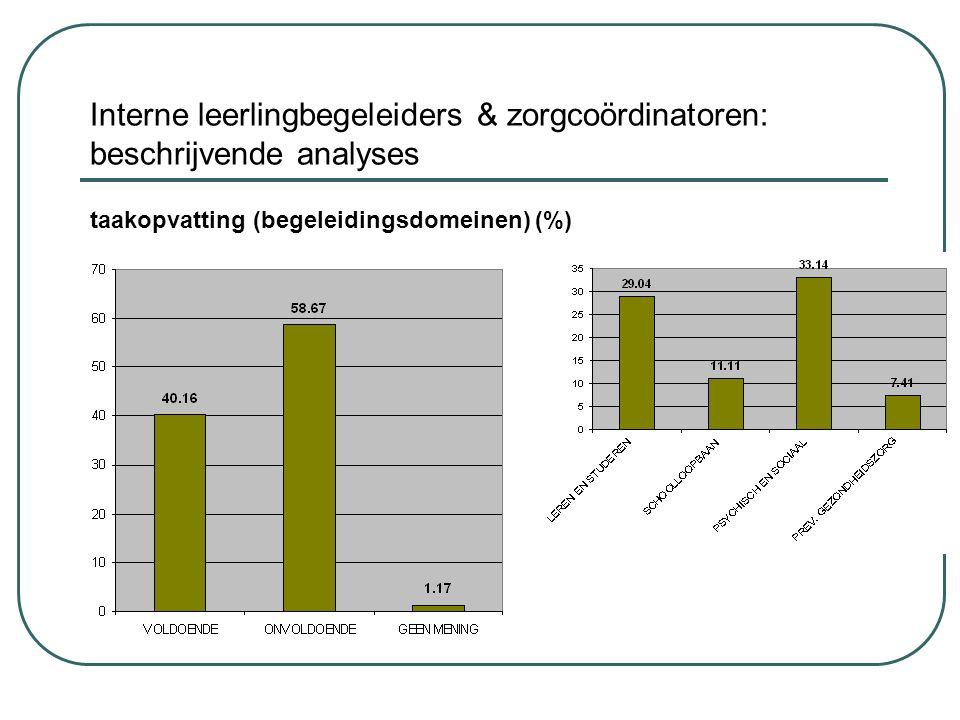 Interne leerlingbegeleiders & zorgcoördinatoren: beschrijvende analyses