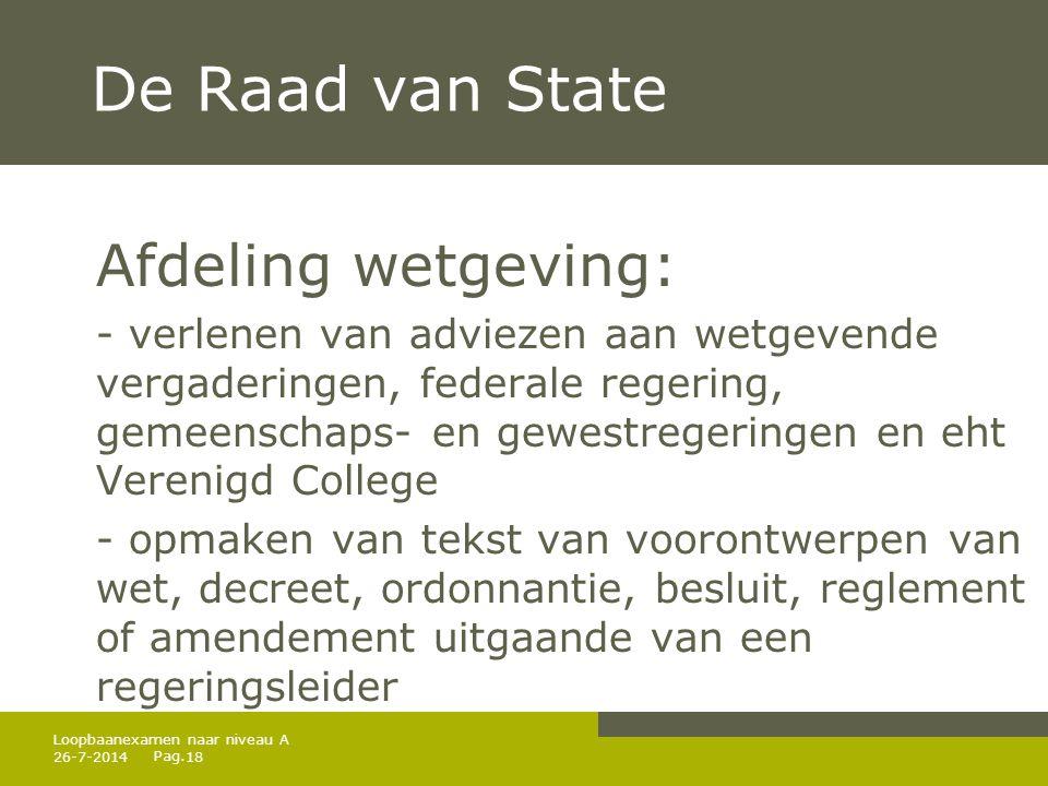 De Raad van State Afdeling wetgeving: