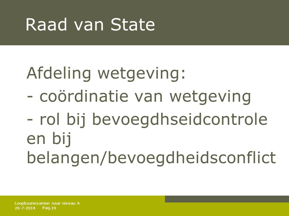 Raad van State Afdeling wetgeving: - coördinatie van wetgeving