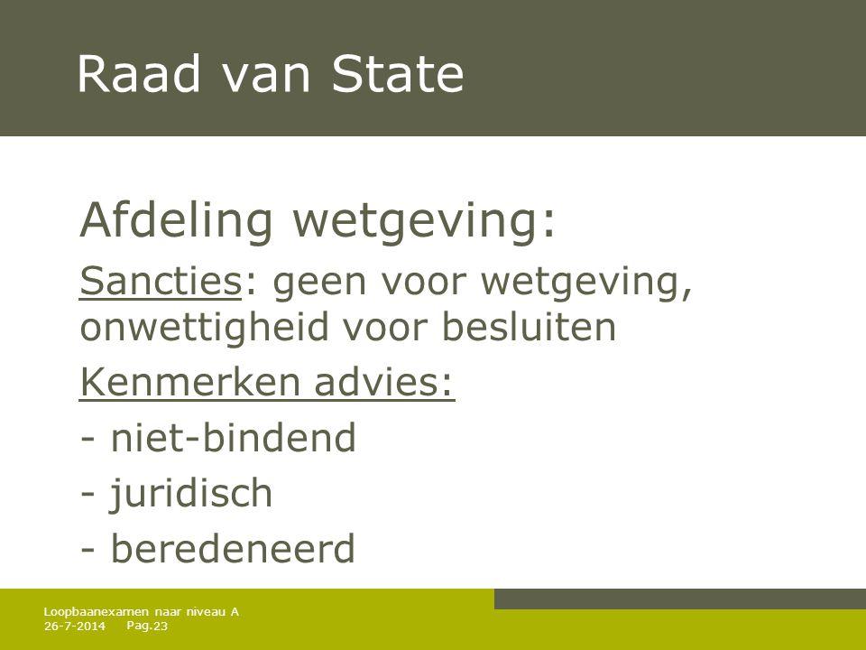 Raad van State Afdeling wetgeving: