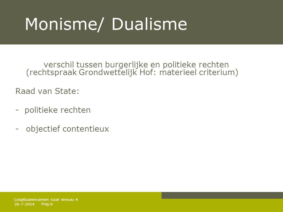 Monisme/ Dualisme verschil tussen burgerlijke en politieke rechten (rechtspraak Grondwettelijk Hof: materieel criterium)