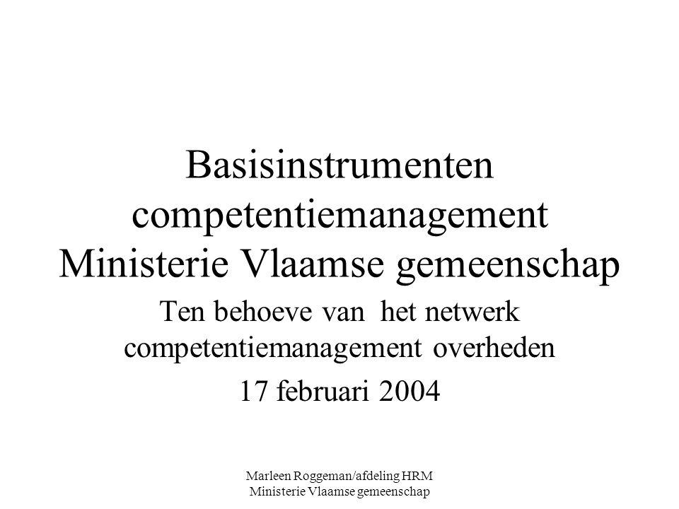 Basisinstrumenten competentiemanagement Ministerie Vlaamse gemeenschap