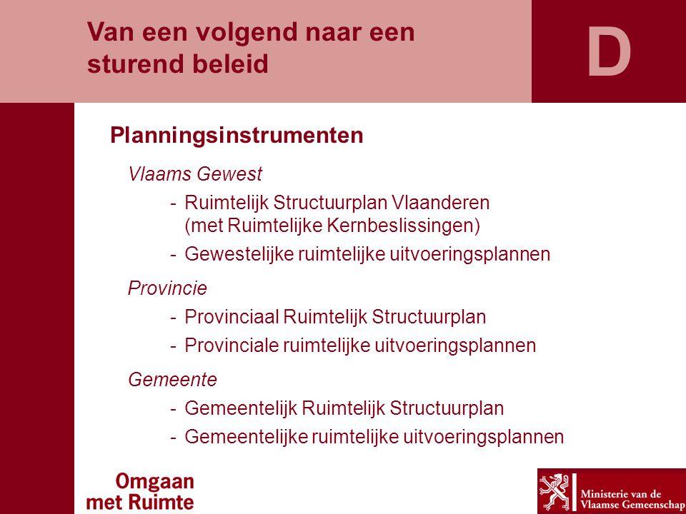 D Van een volgend naar een sturend beleid Planningsinstrumenten