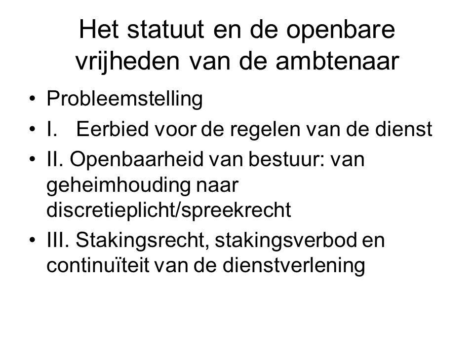 Het statuut en de openbare vrijheden van de ambtenaar