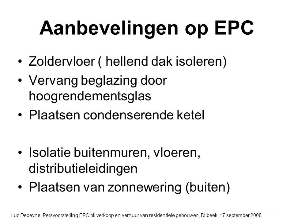 Aanbevelingen op EPC Zoldervloer ( hellend dak isoleren)