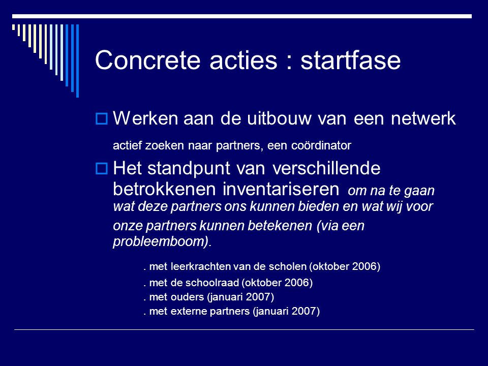 Concrete acties : startfase