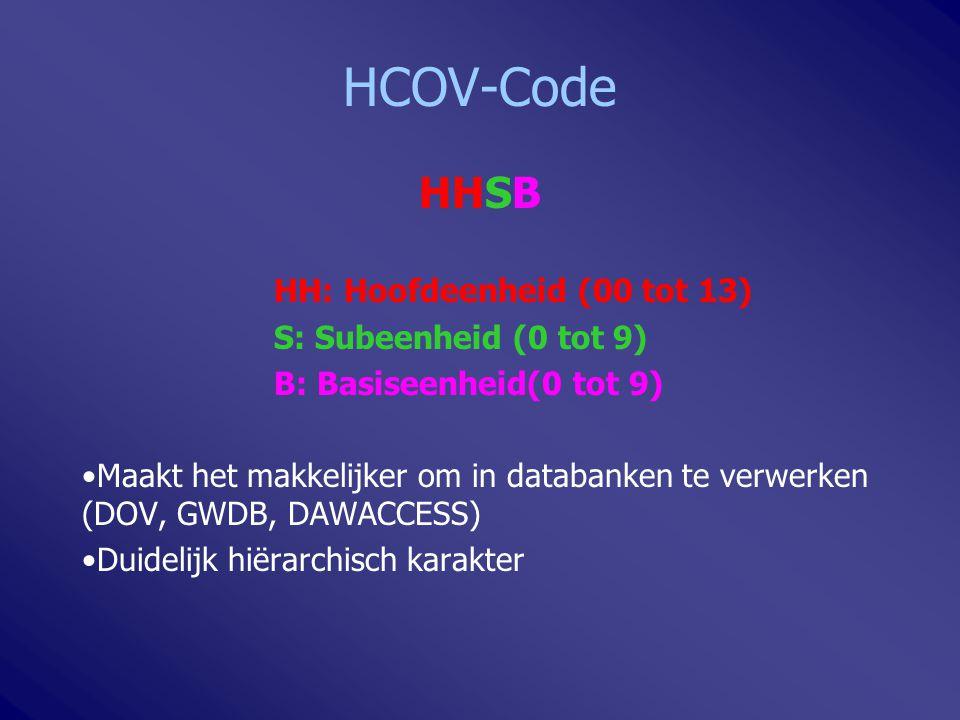 HCOV-Code HHSB HH: Hoofdeenheid (00 tot 13) S: Subeenheid (0 tot 9)