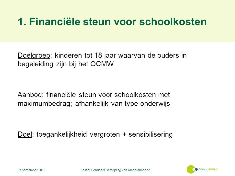 1. Financiële steun voor schoolkosten