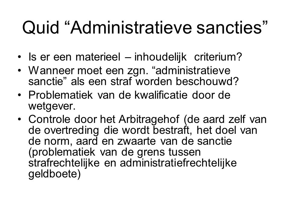 Quid Administratieve sancties