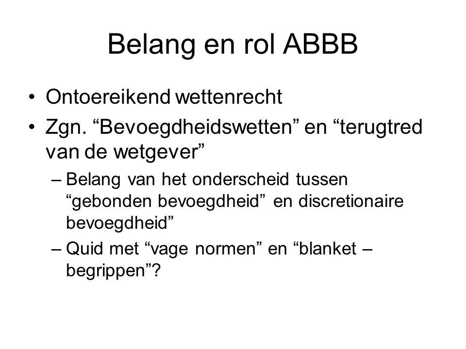 Belang en rol ABBB Ontoereikend wettenrecht
