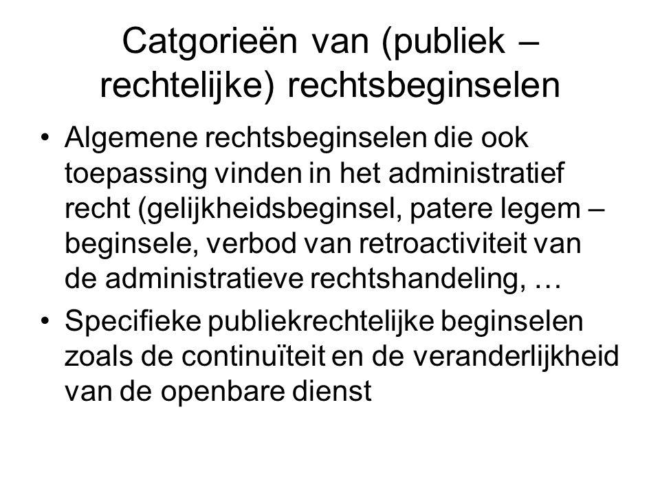 Catgorieën van (publiek – rechtelijke) rechtsbeginselen