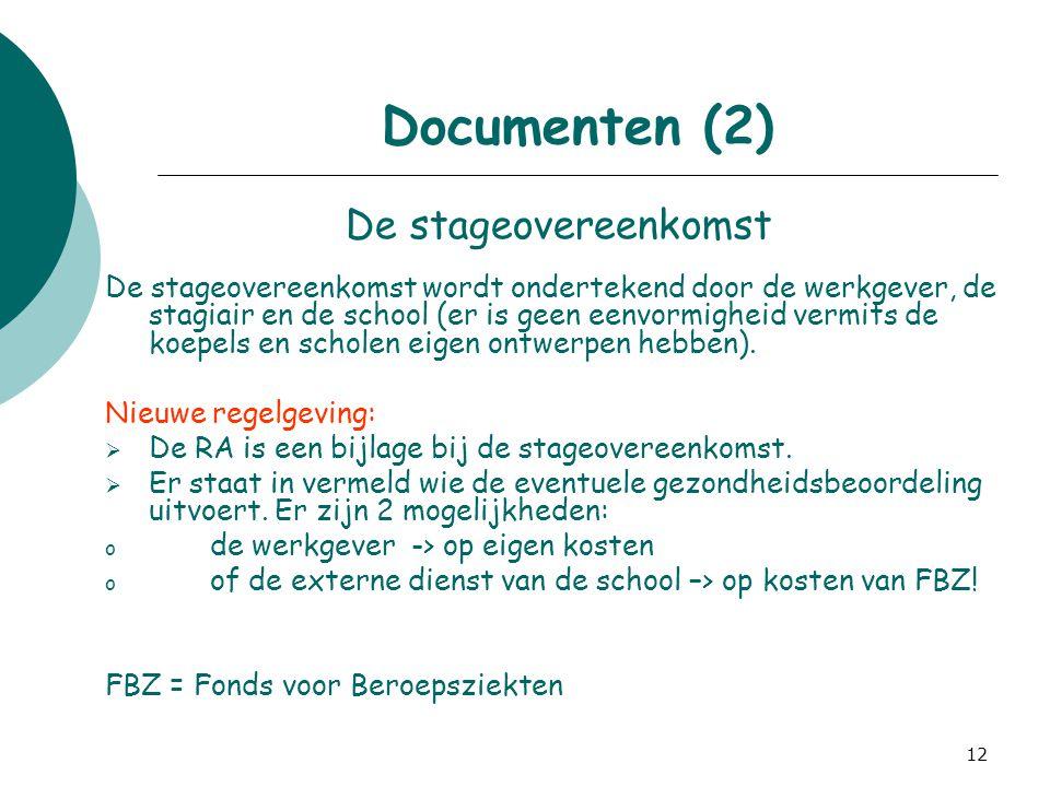 Documenten (2) De stageovereenkomst