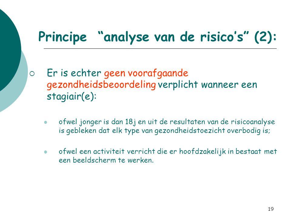 Principe analyse van de risico's (2):