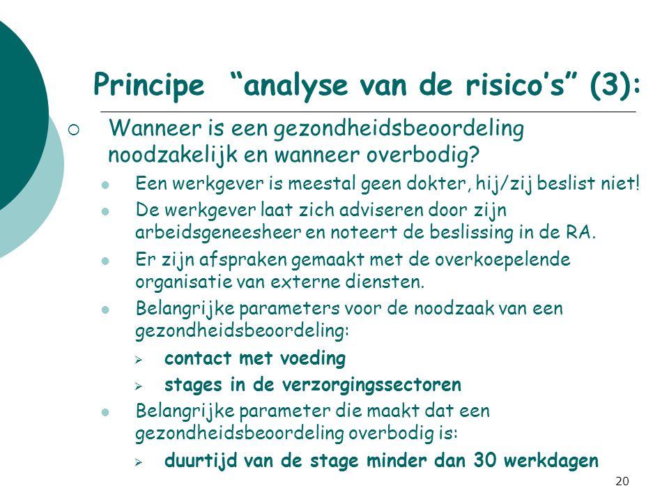 Principe analyse van de risico's (3):