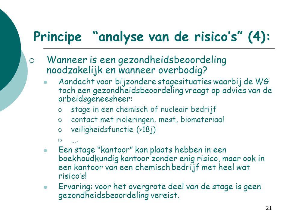 Principe analyse van de risico's (4):